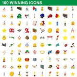 100 winning icons set, cartoon style. 100 winning icons set in cartoon style for any design illustration stock illustration