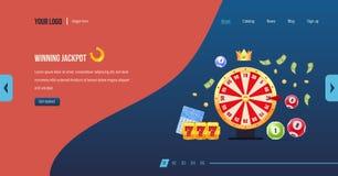 Winning jackpot. Casino jackpot winner. Big win jackpot. Lucky, success. Winning jackpot. Casino jackpot winner. Big win jackpot. Roulette wheel, fortune wheel stock illustration