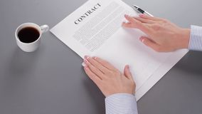 Winning a job vacancy. Secretary signs the contract and sends it to the recipient. Winning a job vacancy. Employer signs a contracts with  professionals stock footage