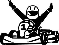 Winning kart racer. Vector sports Royalty Free Stock Image