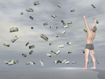 Winning lot of money - 3D render Royalty Free Stock Image