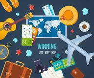 Winning lottery trip. Summer travel the world. Concept success, fortune. royalty free illustration