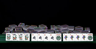 Winning Mahjong hand with room for text. Stock Photography