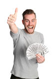 Winning man with cash Stock Photography