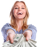 Winning money concept. Portrait of attractive cheerful female showing many banknotes of one hundred dollars, isolated on white background, winning money prize Stock Photos