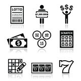 Winning money on lottery, slot machine icons set Royalty Free Stock Photography