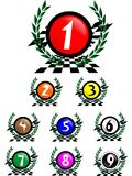 Winning numbers. Laurel wreath with a number in the center Stock Photo