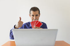 Winning at online poker Royalty Free Stock Photos
