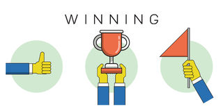 Winning outline icons Royalty Free Stock Photos
