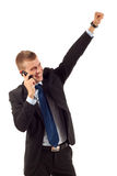 Winning on the phone Stock Photo