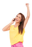 Winning on the phone Royalty Free Stock Image