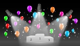 Winning podium and lights with balloons Royalty Free Stock Images