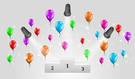 Winning podium and lights with balloons Stock Images