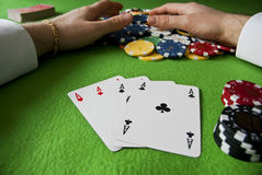 Winning with poker of aces Stock Photos
