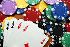 Winning with poker of aces Stock Images