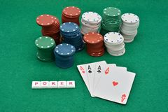Winning poker plays, Poker of aces royalty free stock photos