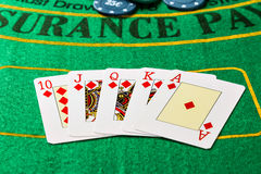 Winning poker game with royal straight flush. Royalty Free Stock Image