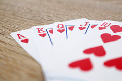 Winning poker game with royal straight flush. Photo of winning poker game with royal straight flush Royalty Free Stock Images