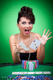 Winning a poker hand Royalty Free Stock Photo