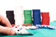 Winning poker hand Stock Photography