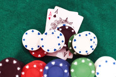 Winning poker hand Stock Images