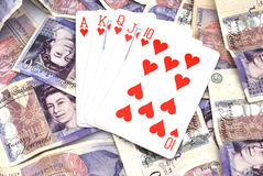 Winning poker hand with cash Royalty Free Stock Photography
