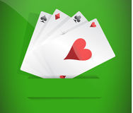 A winning poker hand of four aces Stock Images