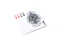 A winning poker hand of four aces Stock Photo