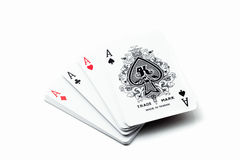 A winning poker hand of four aces. Playing cards suits on white Royalty Free Stock Images