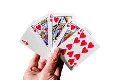 Winning poker hand, a royal flush. Stock Photography