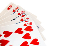 Winning poker hand, a royal flush. Royalty Free Stock Photography