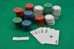 Winning poker plays, full. Winning poker game, with lots of chips of different colors won stock photography