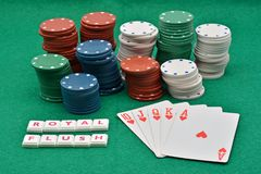 Winning poker plays,royal flush royalty free stock image