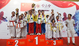 The winning prize winners--The seventh GoldenTeam Cup Taekwondo friendly competition Stock Photography