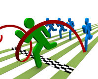 Winning the Race. Illustration of figure crossing the checkered finish line in a foot race Royalty Free Stock Photos