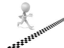 Winning the race. A little funny 3d man racing to the finish line to complete the race with his victory, no competition in sight royalty free illustration
