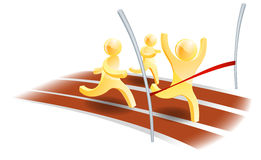 Winning race concept. Three people racing on a track with one about to cross the finish line Stock Photos