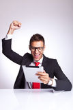 Winning reading the good news on the Stock Images