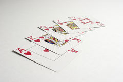 A winning royal flush hand in poker. Winning royal flush hand in poker illustrate concept of a win, winning royalty free stock image