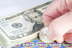 Winning at Scratchers Royalty Free Stock Image