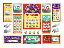Winning scratching lottery vector tickets royalty free illustration