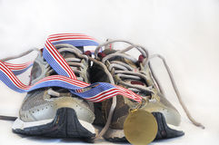 Winning shoe front view stock photo