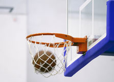 Winning shot. At basketball game - ball enters the hoop royalty free stock photo