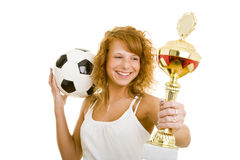 Winning soccer player Royalty Free Stock Photos