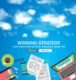 Winning Strategy for Business Concept with Doodle design style. Finding solution, brainstorming, creative thinking. Modern style illustration for web banners Royalty Free Stock Photography