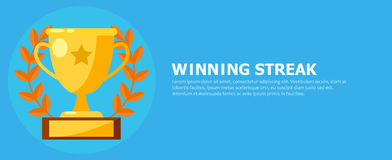 Winning streak banner. Cup, medal with a star. Vector flat illustration Royalty Free Stock Photos