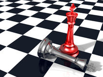 Winning success concept with two glass chess kings Stock Photography