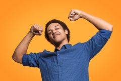 Winning success man happy ecstatic celebrating being a winner. Dynamic energetic image of male model. I won. Winning success happy man celebrating being a winner Royalty Free Stock Photos