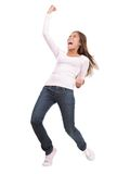 Winning success woman. In full length cheering and screaming of joy. Casual young mixed race chinese / caucasian isolated in full body on white background Stock Image