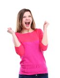 Winning success woman happy ecstatic celebrating being a winner. Dynamic energetic image of  female model isolated on white background waist up Stock Images